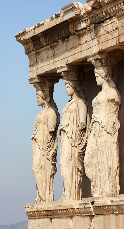 Tres de las Cariátides en el Erecteión