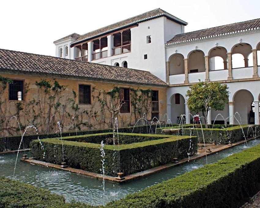 Patio of the cypress of the Sultana. Palacio del Generalife, Granada (Spain)