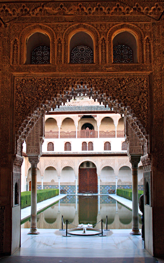 Alhambra. Patio of the Myrtles from the Sala de la Barca. Granada