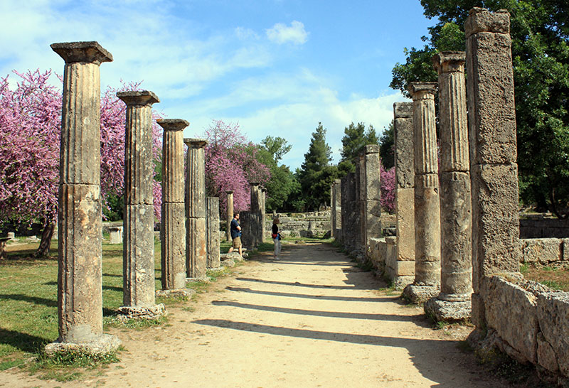 Remains Of The Palestra At Olympia Greece